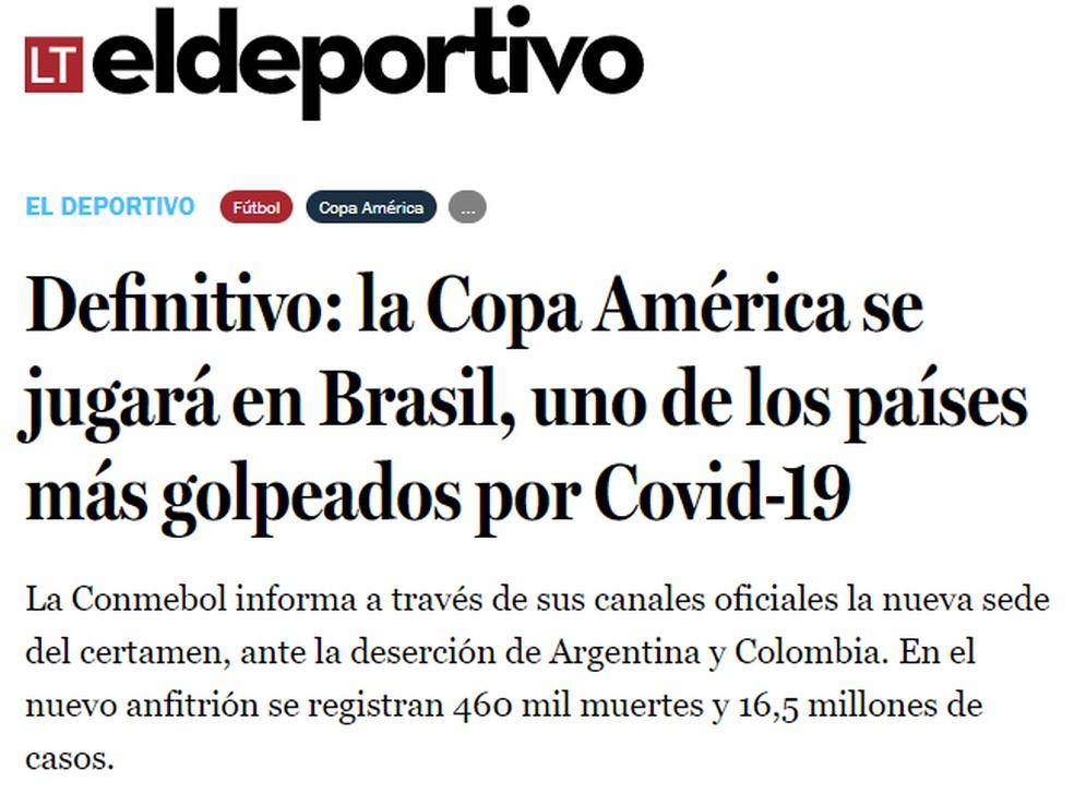 El Deportivo, editoria de esportes do portal La Tercera, do Chile, destaca números da Covid-19 no Brasil — Foto: Reprodução