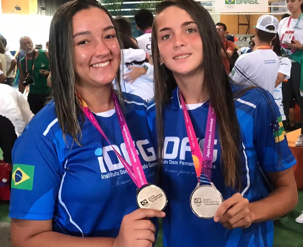Ágatha Bianca e Vanessa Oliveira conquistam medalha de prata — Foto: Divulgação/SEDUC