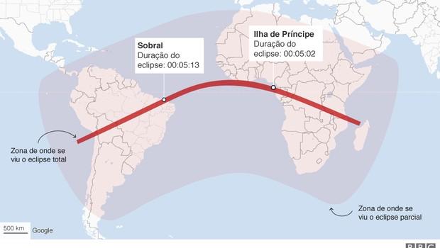 Trajetória do eclipse que passou por Sobral, no Ceará, em 1919 (Foto: BBC)