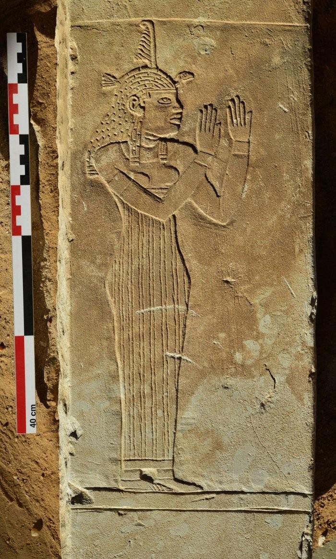 Placa retrata Maat, a deusa da justiça (Foto: Vincent Francigny / Sedeinga archaeological mission)
