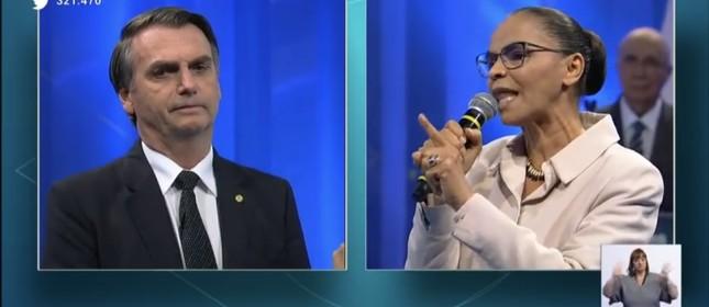 Marina enfrenta Bolsonaro no debate da RedeTV!