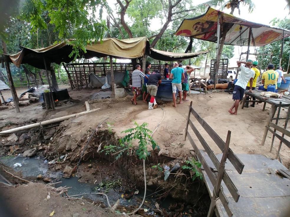 No mesmo terreno do matadouro ilegal a PM encontrou esgoto a céu aberto (Foto: Divulgação/PM)