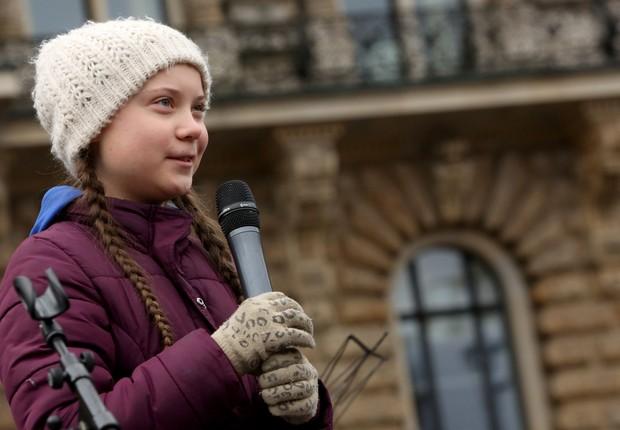 Ativista Greta Thunberg liderou uma greve estudantil para exigir medidas contra as mudanças climáticas na Europa (Foto: Adam Berry/Getty Images)