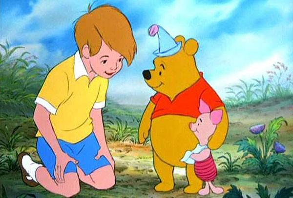 O garotinho Christopher Robin no desenho animado (Foto: Reprodução)