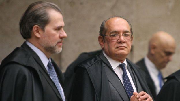 Da direita para a esquerda: Dias Toffoli, Gilmar Mendes e Alexandre de Moraes. Os três votaram pelo aumento (Foto: Nelson Jr. / SCO - STF via BBC)