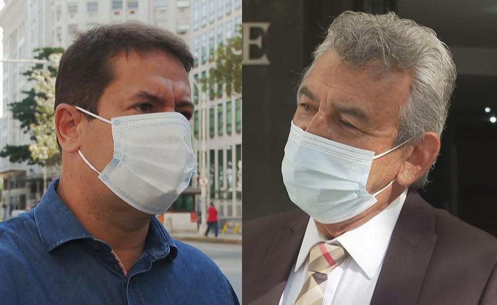Léo Vieira (PSC) e Dr. João (DEM), candidatos a prefeito de São João de Meriti — Foto: Reprodução/TV Globo