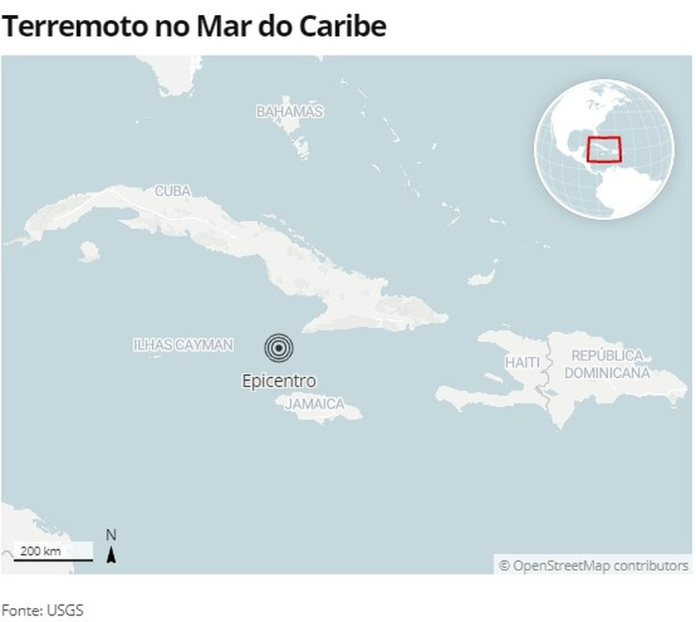 Tremor atinge o Mar do Caribe — Foto: G1