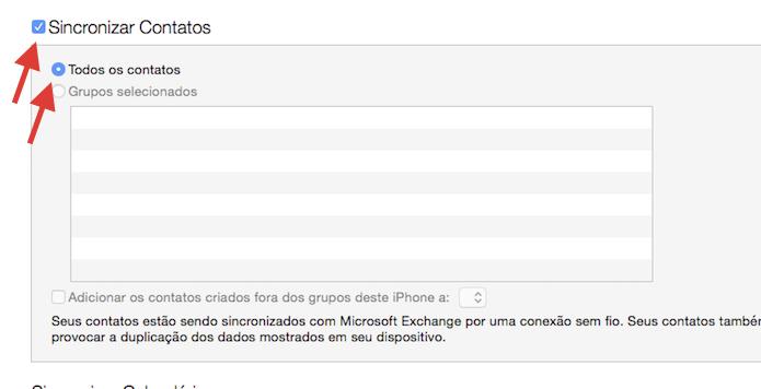 Ativando a sincronização de contatos do iPhone com o iTunes (Foto: Reprodução/Marvin Costa)