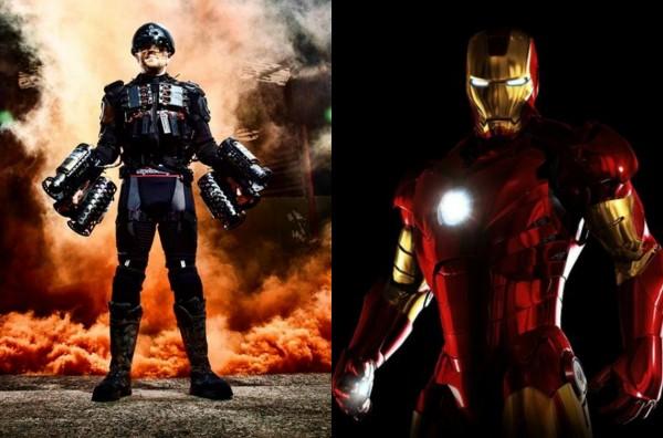 Traje a jato de Richard Browning e a armadura do Homem de Ferro  (Foto: Reprodução Instagram/Divulgação)