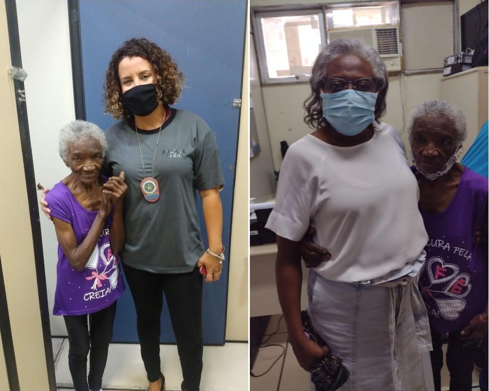 Dona Maria depois de resgatada posa com a inspetora que a ajudou e com a sobrinha Raquel — Foto: Divulgação