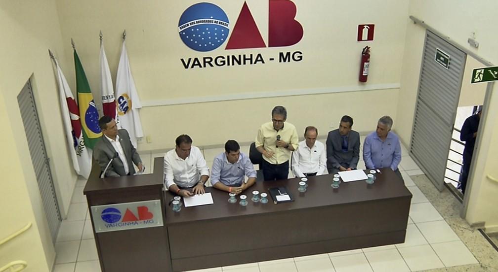 Romeu Zema anuncia que vai regularizar repasses para municípios em reunião em Varginha — Foto: Claudemir Camilo / EPTV