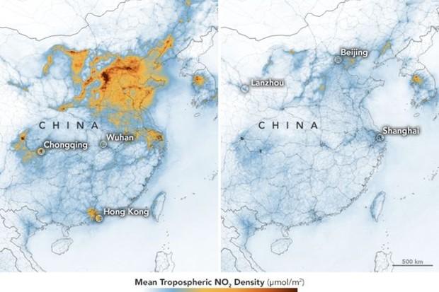 Imagens de satélite da Nasa mostra a redução da poluição na China (Foto: Nasa/Reprodução)