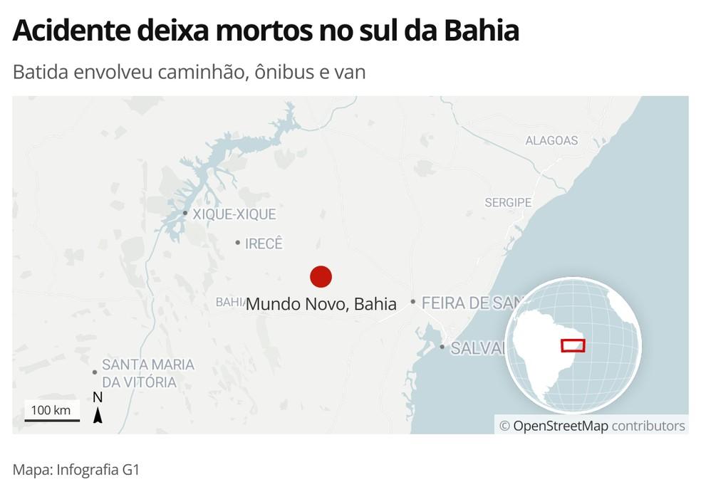 Acidente entre caminhão que carregava eucalipto, ônibus e van deixa ao menos oito mortos na BR-101, no sul da Bahia — Foto: Arte/G1