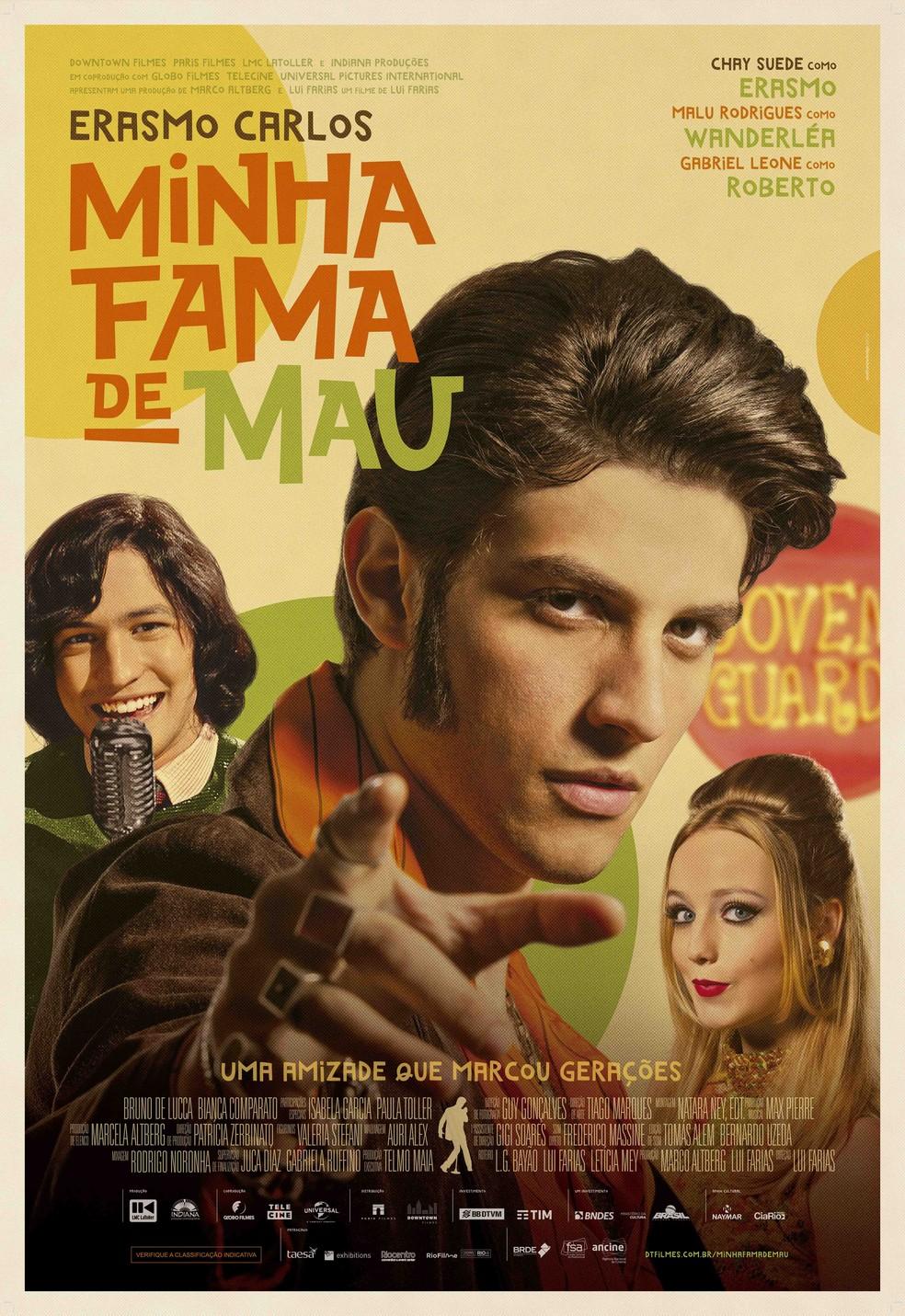 Cartaz de 'Minha fama de mau', filme estrelado por Chay Suede no papel de Erasmo Carlos — Foto: Divulgação