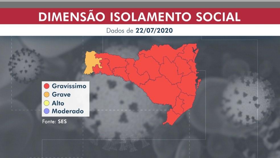 De 16 de saúde, 15 estão com isolamento social em situação gravíssima, aponta mapa de risco do governo de SC — Foto: Arte NSC TV