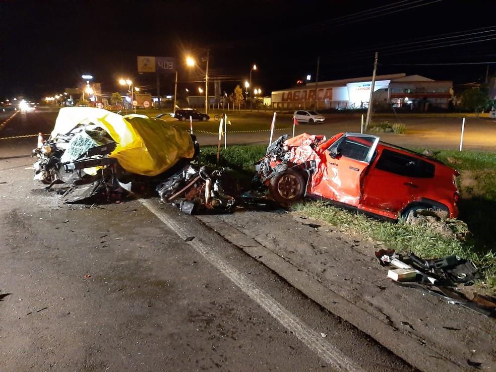 Acidente deixou duas pessoas mortas em Igrejinha — Foto: Joni Feltes/ Capitão dos Bombeiros Voluntários de Igrejinha