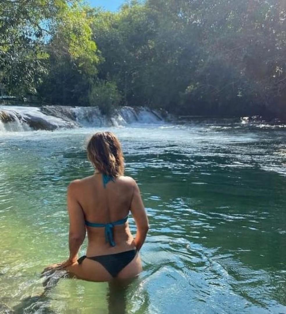 Atriz no rio Formoso, em Bonito  Foto: Redes sociais
