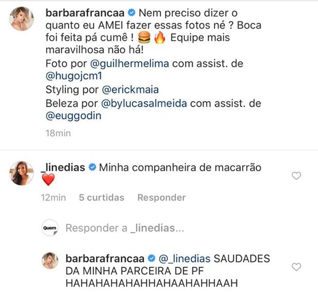 Comentários no post de Barbara França (Foto: Reprodução/Instagram)