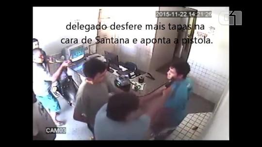 Vídeo mostra momento em que delegado agride e aponta arma para o rosto de policial dentro de delegacia no RN