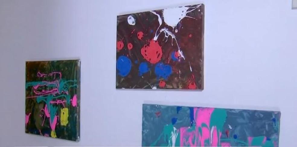 Quadros pintados por menina de 4 anos, moradora de Assis — Foto: Reprodução/TV TEM