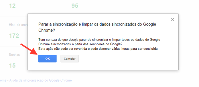Confirmando a exclus?o de dados sincronizados ao Chrome (Foto: Reprodu??o/Marvin Costa)