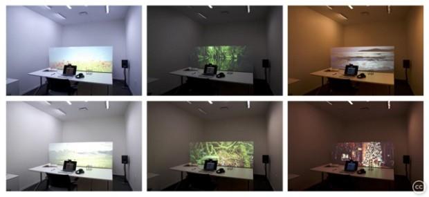 Testes de projeções da mesa do Atmospheric Scenes (Foto: Nan Zhao)