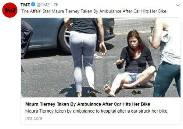 Maura Tierney foi atropelada por um carro enquanto andava de bicicleta no Condado de Los Angeles (Foto: Reprodução Twitter )