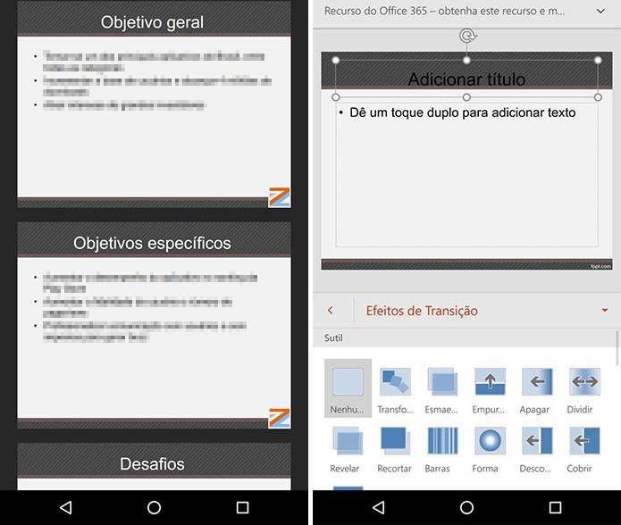 PowerPoint para Android (Foto: Reprodução/Paulo Alves)
