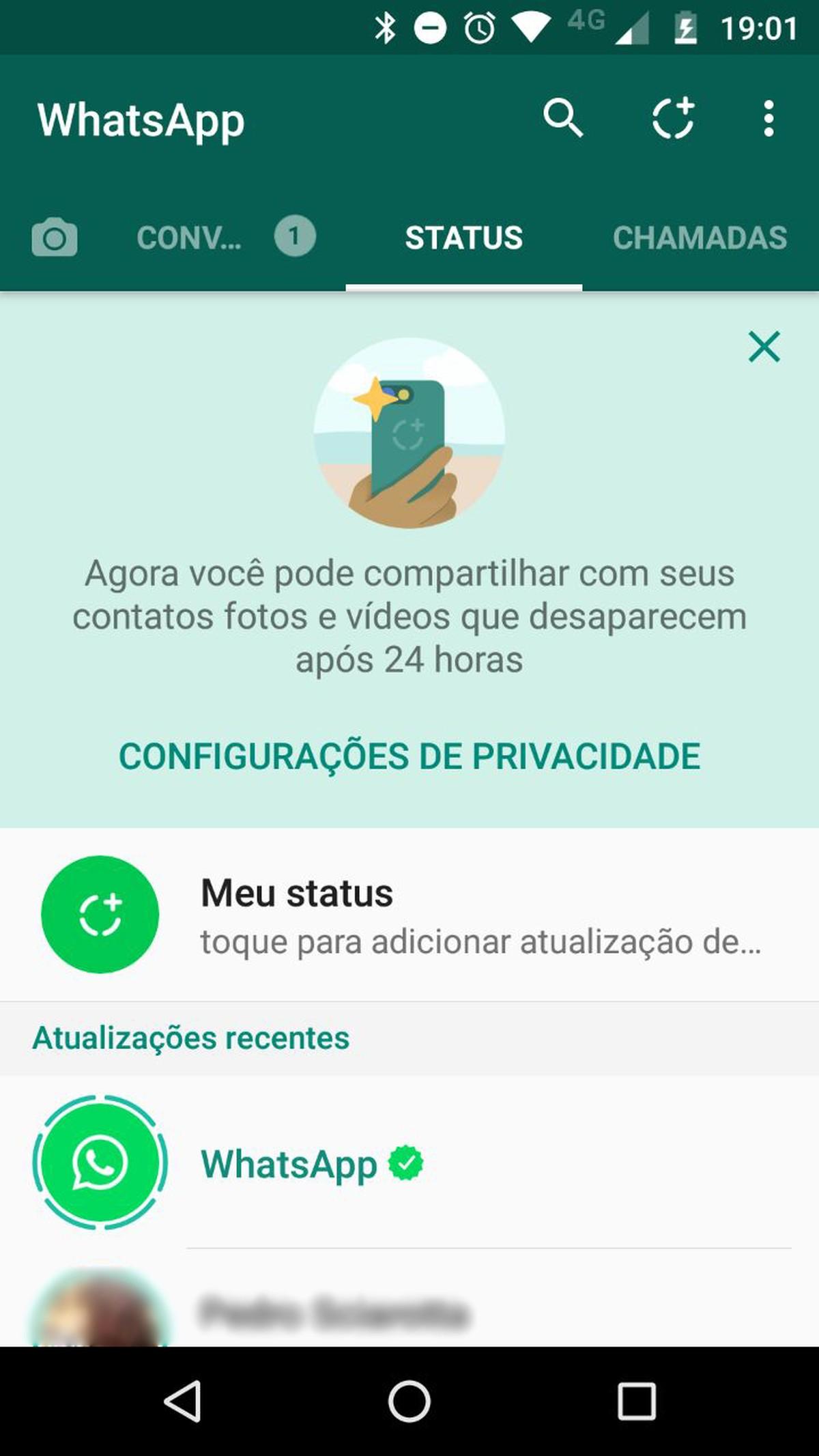 Whatsapp Status Com Imagens Que Somem Em 24 Horas Chega Ao Brasil