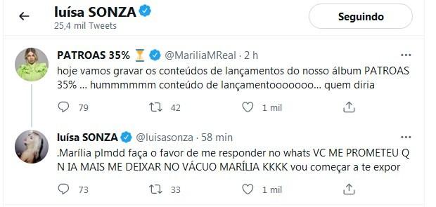 Luísa Sonza cobra resposta de Marilia Mendonça (Foto: Reprodução/Twitter)
