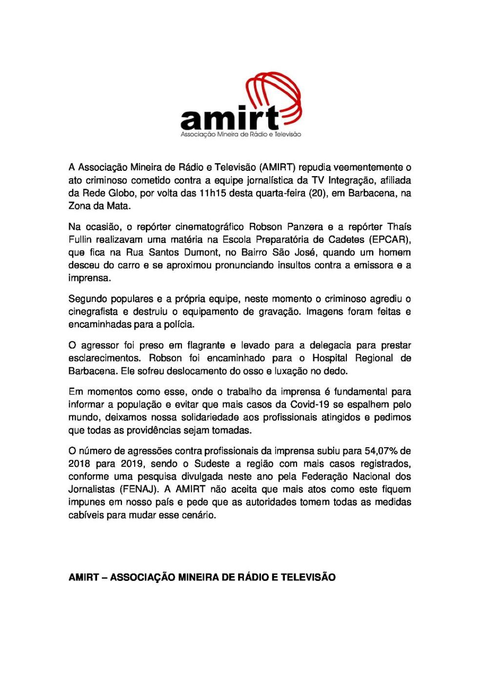 Nota de repúdio da Amirt — Foto: Amirt/Divulgação