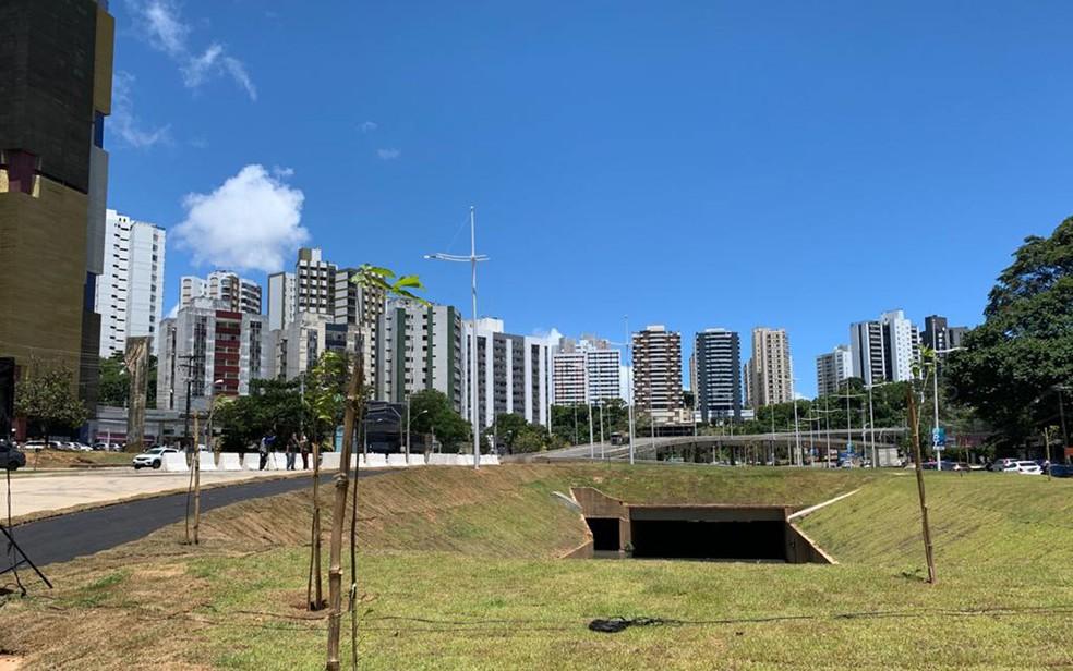 Corredor viário da primeira etapa do sistema BRT no trecho da Avenida ACM, em Salvador  — Foto: Luana Assis/TV Bahia