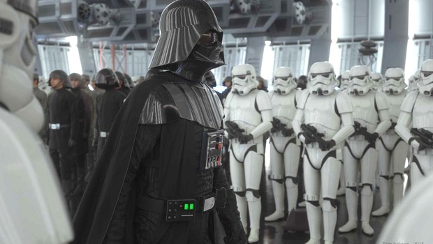 Cena do filme Star Wars em que o personagem Darth Vader lidera as tropas imperiais (Foto: 20th Century Fox)