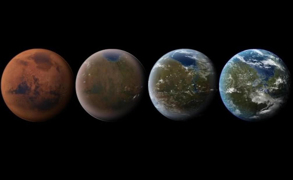 Processe de terraformação quer deixar Marte mais habitável, como a Terra — Foto: Daein Ballard