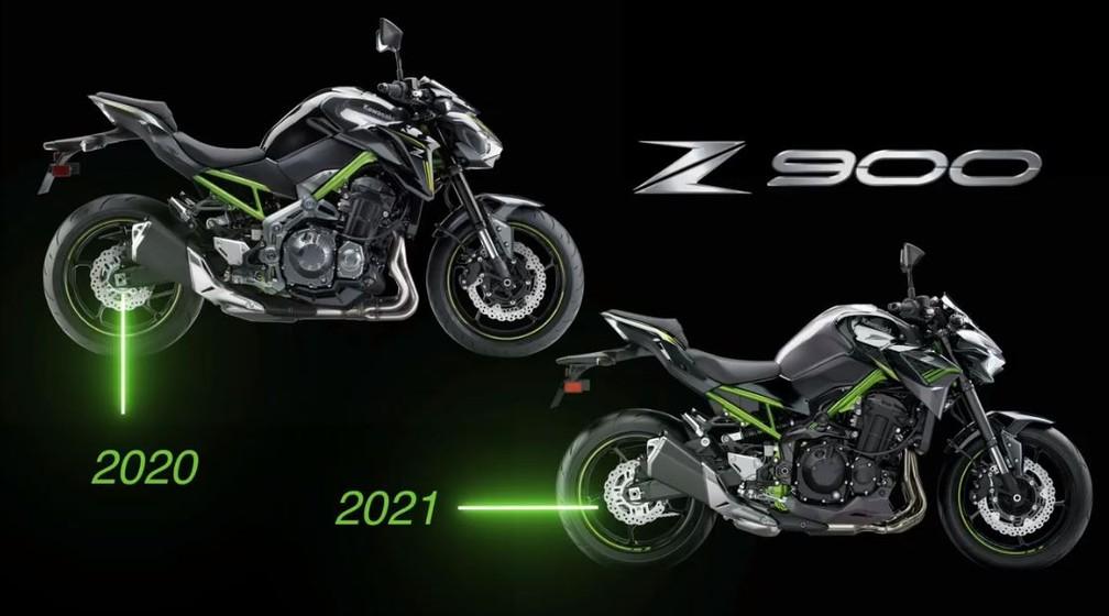 Diferenças visuais entre a Z900 2020 e a Z900 2021 — Foto: Divulgação