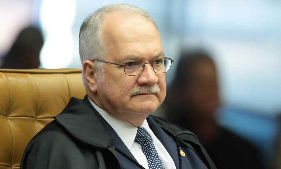 O ministro Edson Fachin durante a sessão do STF neste ano — Foto: Carlos Moura/SCO/STF