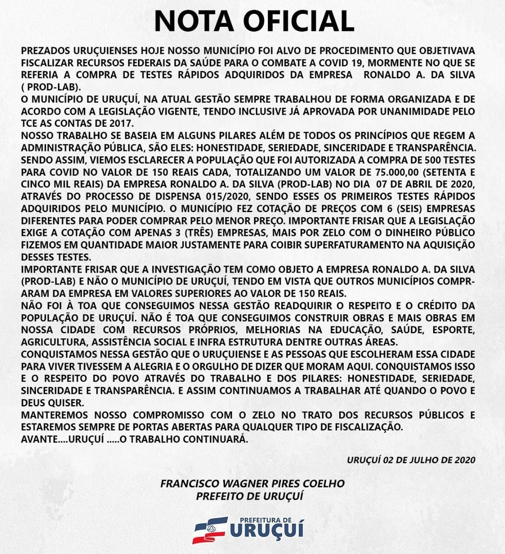 Nota de esclarecimento da Prefeitura de Uruçuí, no Piauí — Foto: Divulgação /Prefeitura de Uruçuí
