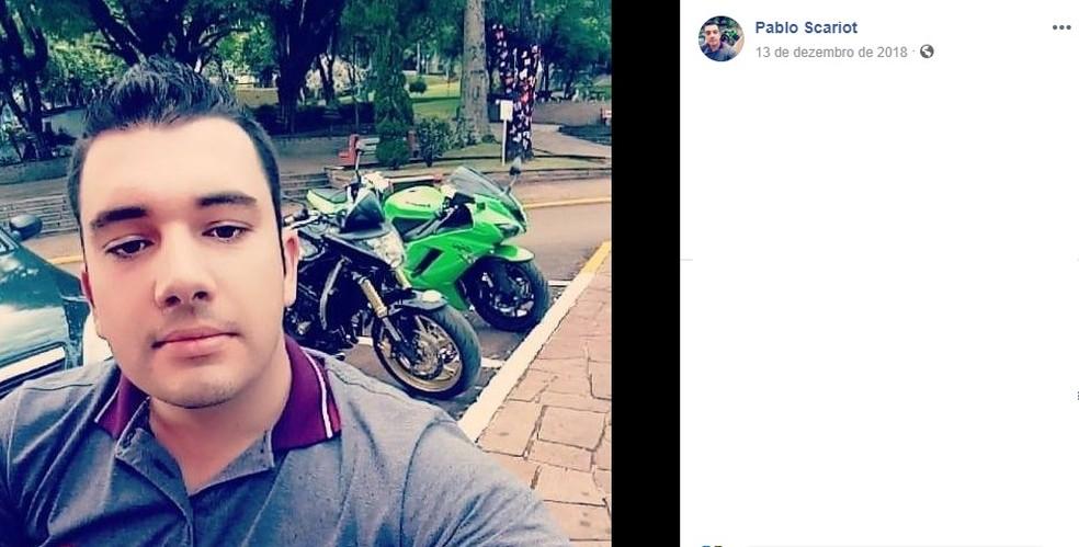 Pablo Scariot, de 27 anos, foi encontrado morto — Foto: Reprodução/Facebook
