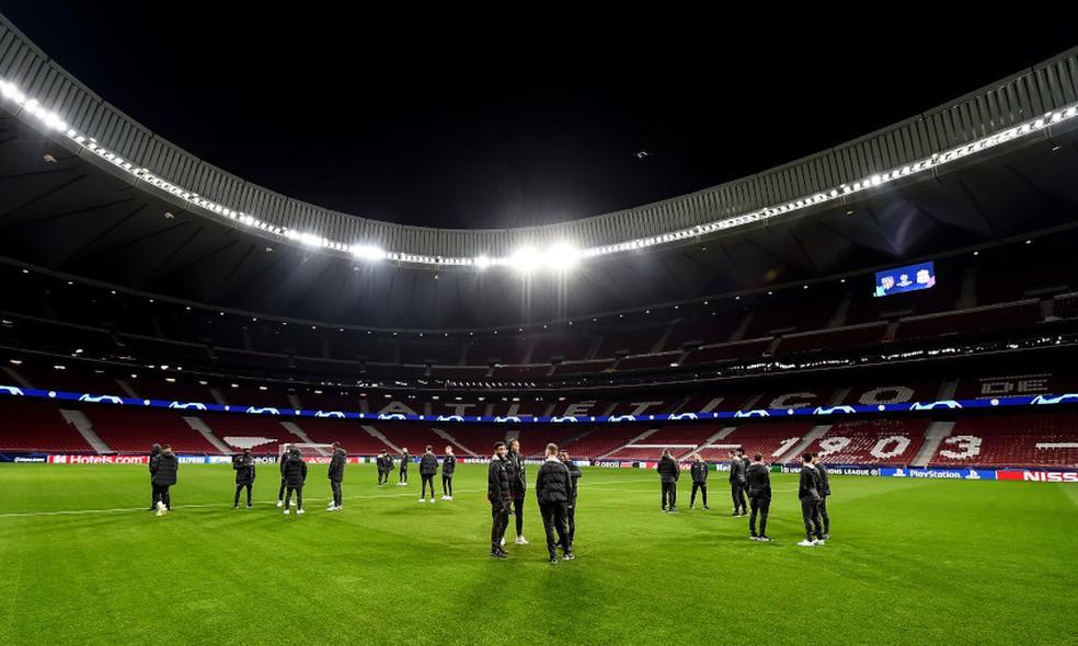 Jogadores do Liverpool no gramado do Estádio Metropolitano de Madrid — Foto: Andrew Powell/Liverpool FC