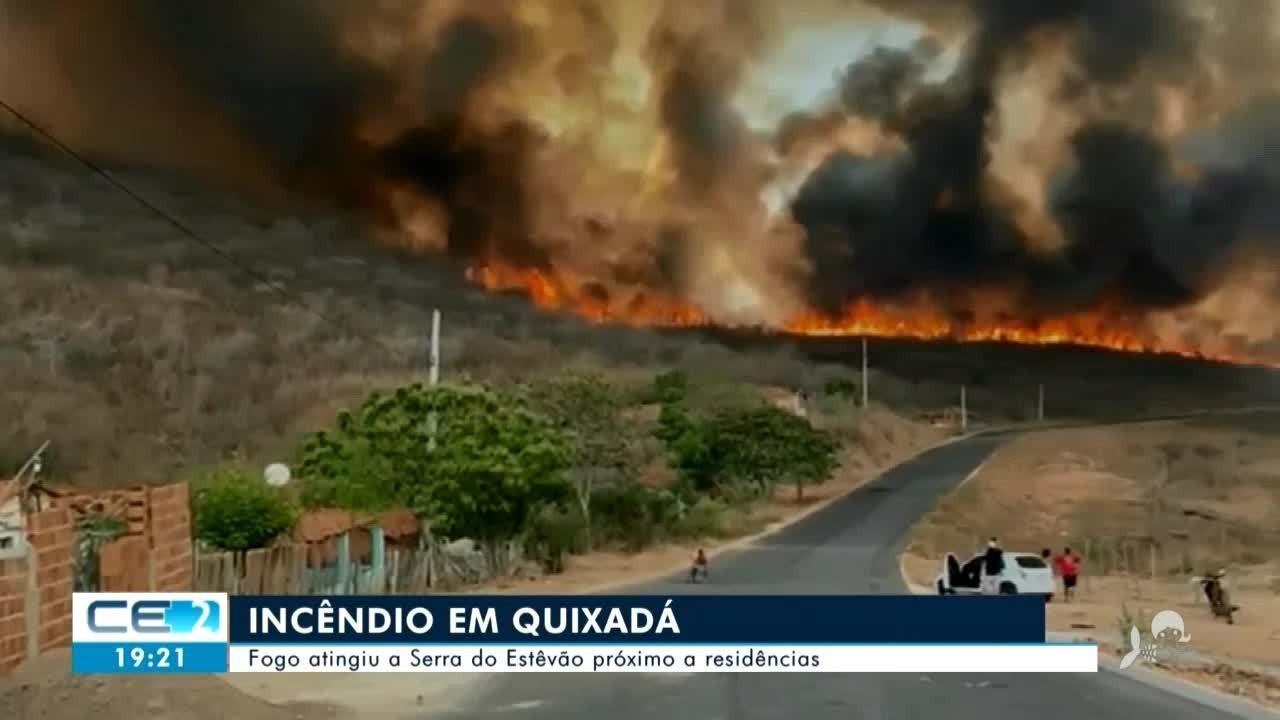 Incêndio destrói vegetação em serra de Quixadá