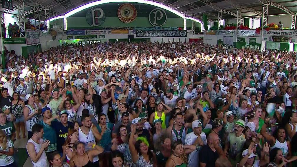 Quadra da Mancha Verde comemora o título de campeã do carnaval de São Paulo — Foto: Reprodução/TV Globo