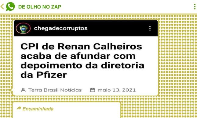 Mensagens replicadas dezenas de vezes em chats pró-Bolsonaro se referiram à comissão como 'CPI do Renan Calheiros'