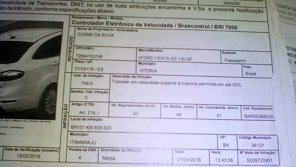 Multa de Itamaraju — Foto: Divulgação/Polícia Civil