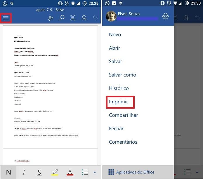 Office para Android pode ter arquivo salvo em PDF a partir do comando Imprimir (Foto: Reprodução/Elson de Souza)