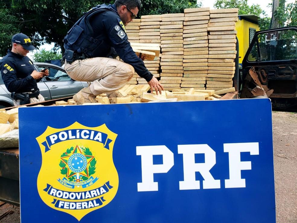 A droga veio do Paraguai e tinha como destino final o norte de Mato Grosso — Foto: Polícia Rodoviária Federal de Mato Grosso