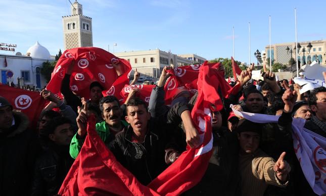 Protesto em Túnis, na Tunisia, em 24 de janeiro de 2011