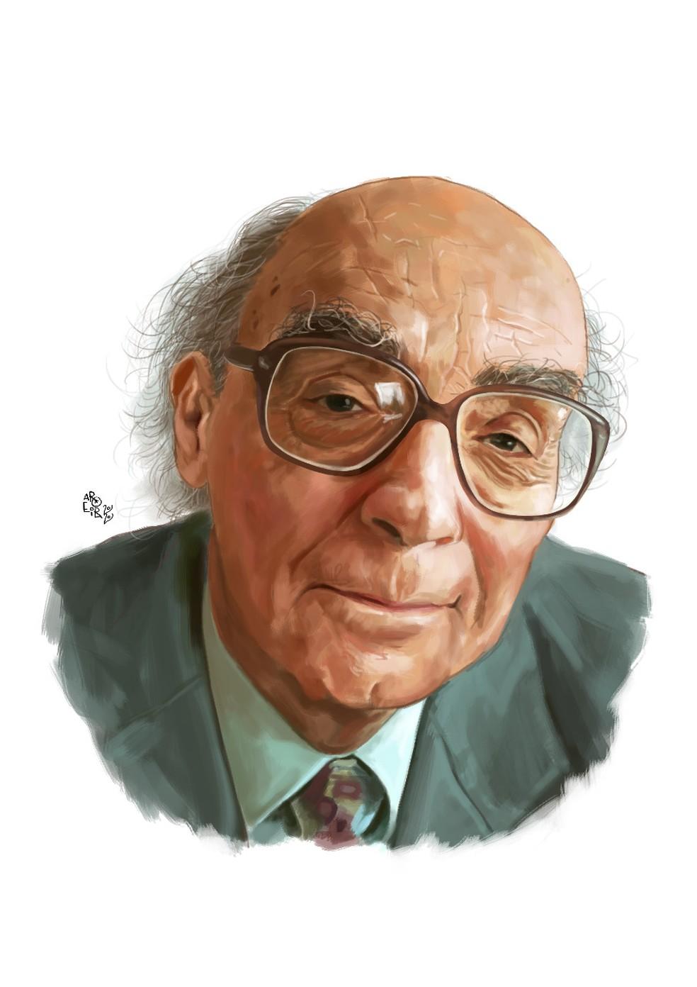 O autor português José Saramago na ilustração de Aroeira — Foto: Divulgação