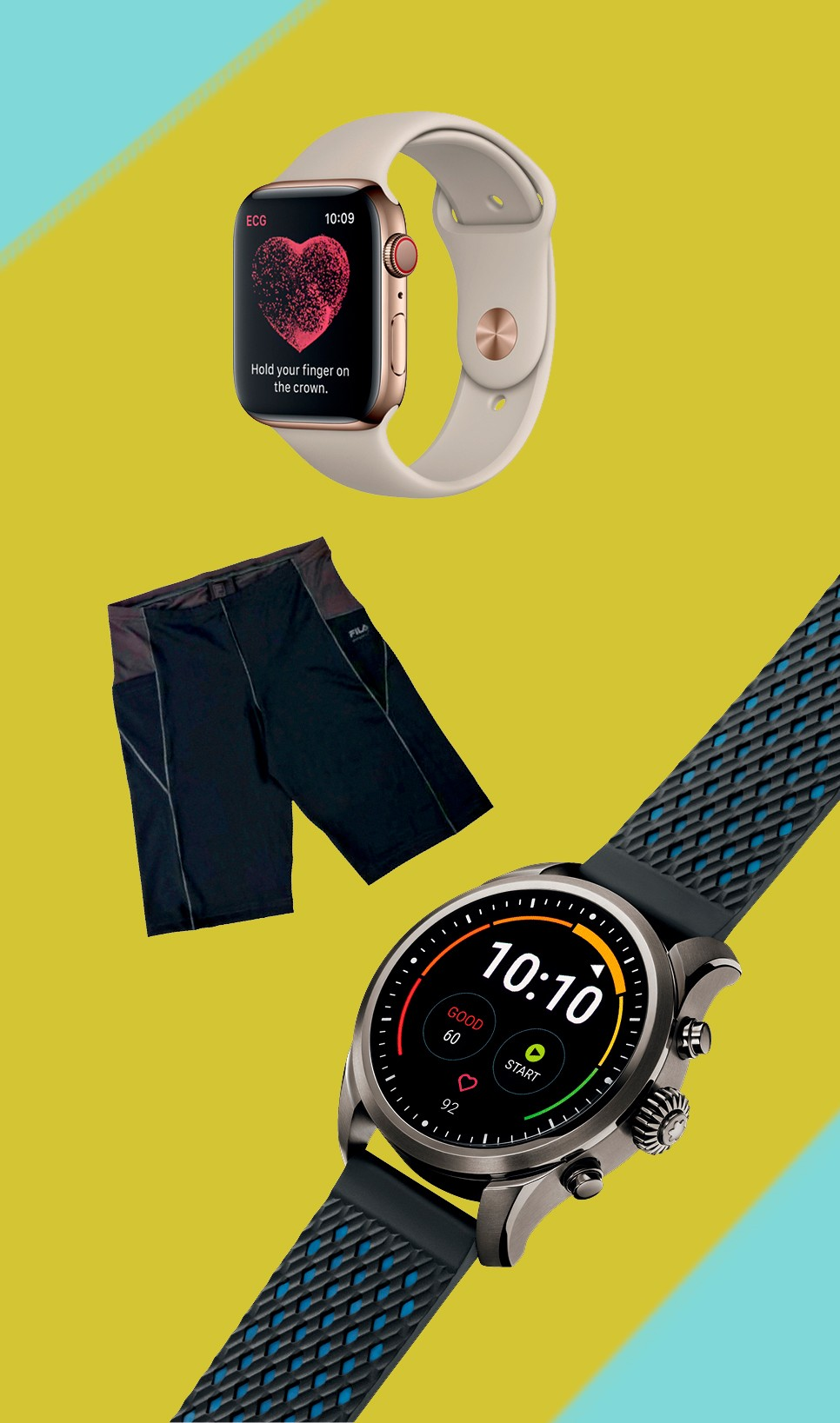 De cima p. baixo: Apple Watch Series 4 Nike+, R$ 4.000; Shorts Fila High Tech Emana II, R$ 130; Montblanc Summit 2, R$ 4.365 a R$ 4.815 (Foto: Divulgação/Arte: Leandro Bicudo)