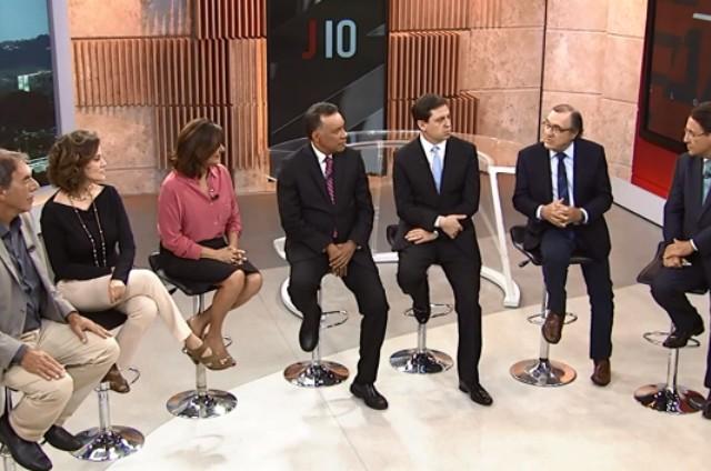 Heraldo Pereira e os comentaristas do 'Jornal das 10' (Foto: Reprodução)
