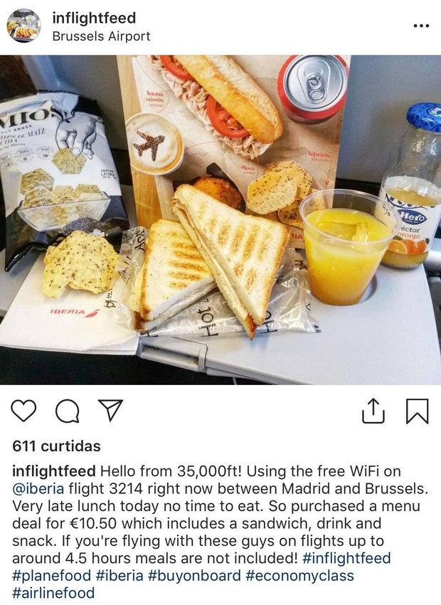 Uma das refeições servidas dentro de um avião que iria até Bruxelas (Foto: Instagram / inflightfeed)